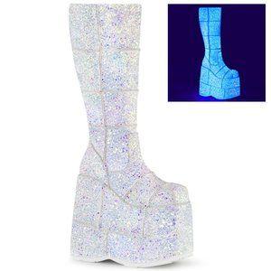 Demonia White UV Reactive Platform Boot Stack-301G